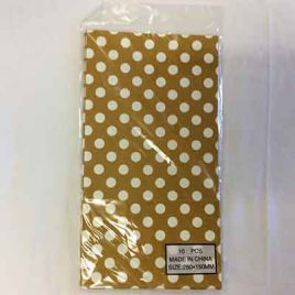 10pc Candy Bag Gold Polka Dot