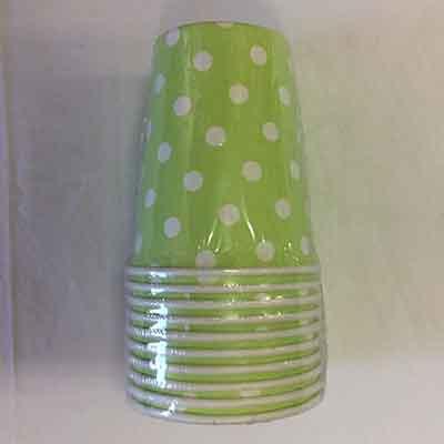 TheVarietyShop_CupsPolkaDot_10pc_Lime