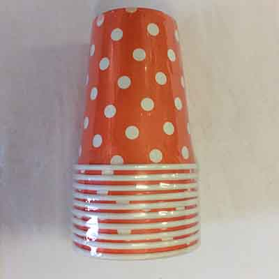 TheVarietyShop_CupsPolkaDot_10pc_Orange