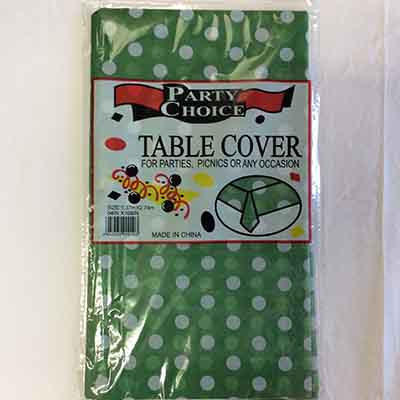 TheVarietyShop_TableCloth_PolkaDot_Green_1.37mX2.74m_1pc