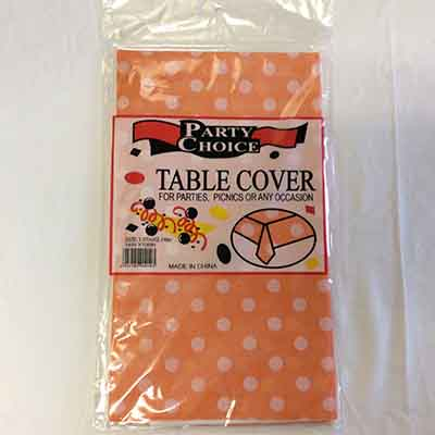 TheVarietyShop_TableCloth_PolkaDot_Orange_1.37mX2.74m_1pc