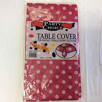 TheVarietyShop_TableCloth_PolkaDot_Pink_1.37mX2.74m_1pc