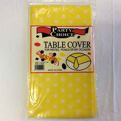 TheVarietyShop_TableCloth_PolkaDot_Yellow_1.37mX2.74m_1pc